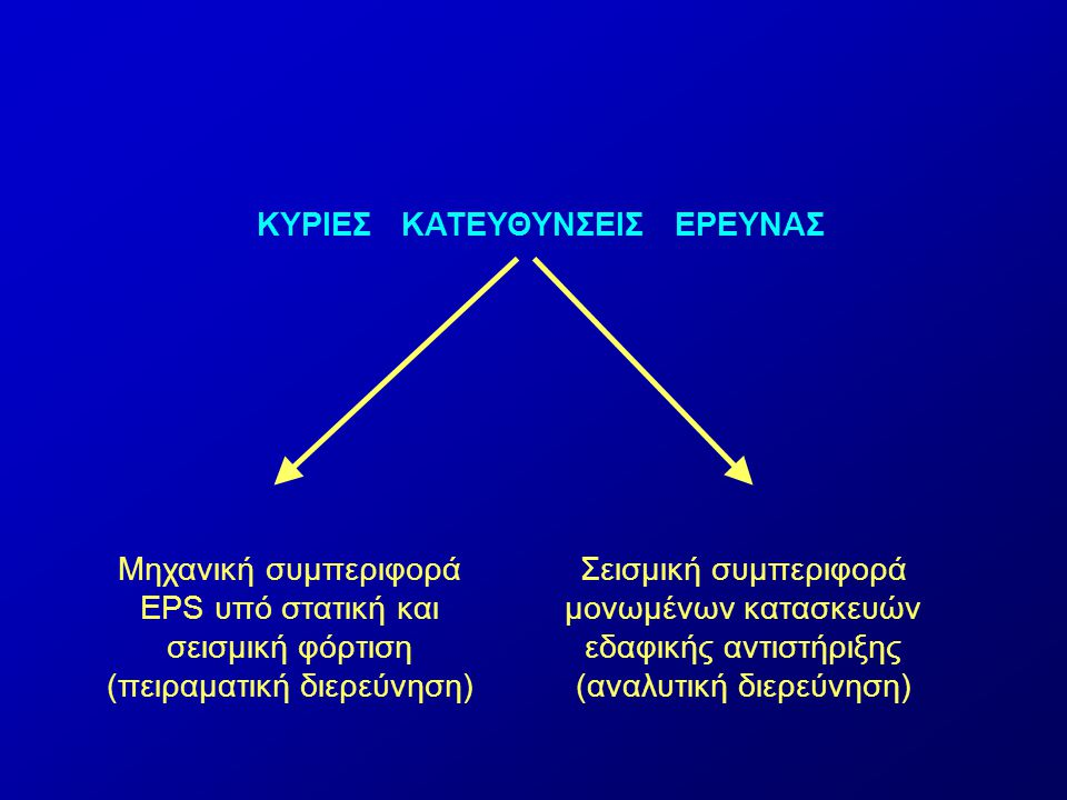 ΚΥΡΙΕΣ ΚΑΤΕΥΘΥΝΣΕΙΣ ΕΡΕΥΝΑΣ Μηχανική συμπεριφορά EPS υπό στατική και σεισμική φόρτιση (πειραματική διερεύνηση) Σεισμική συμπεριφορά μονωμένων κατασκευών εδαφικής αντιστήριξης (αναλυτική διερεύνηση)