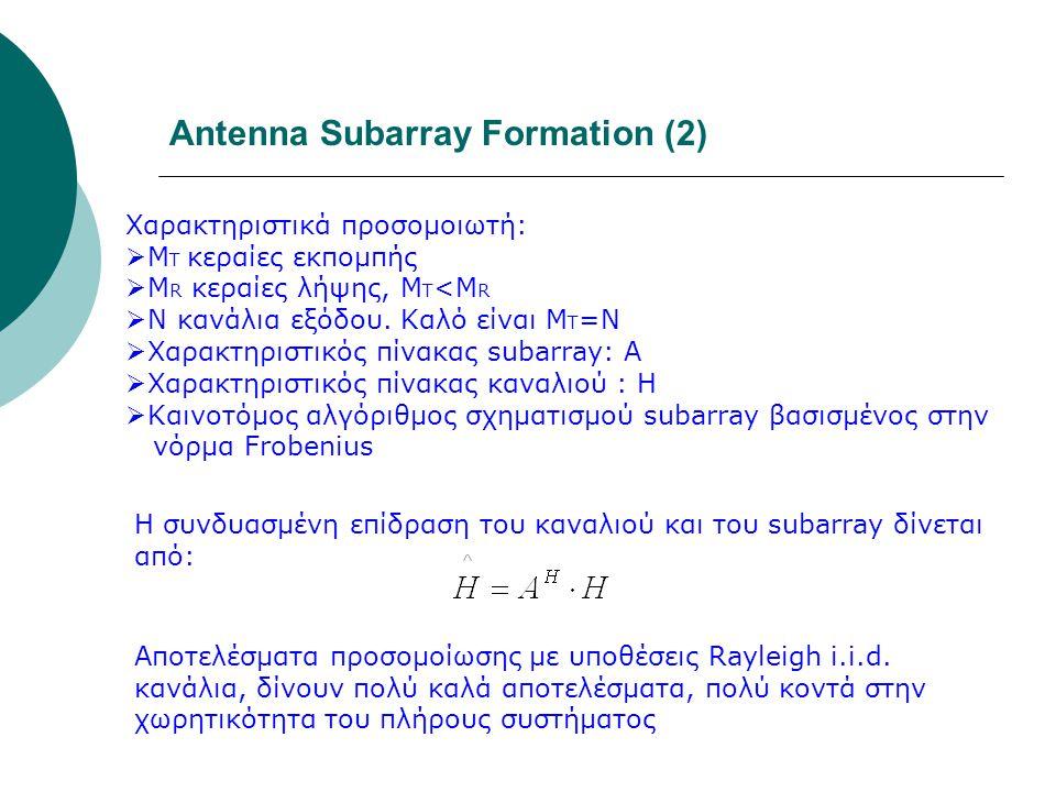 Antenna Subarray Formation (2) Χαρακτηριστικά προσομοιωτή:  Μ T κεραίες εκπομπής  Μ R κεραίες λήψης, Μ Τ <Μ R  Ν κανάλια εξόδου. Καλό είναι Μ Τ =Ν