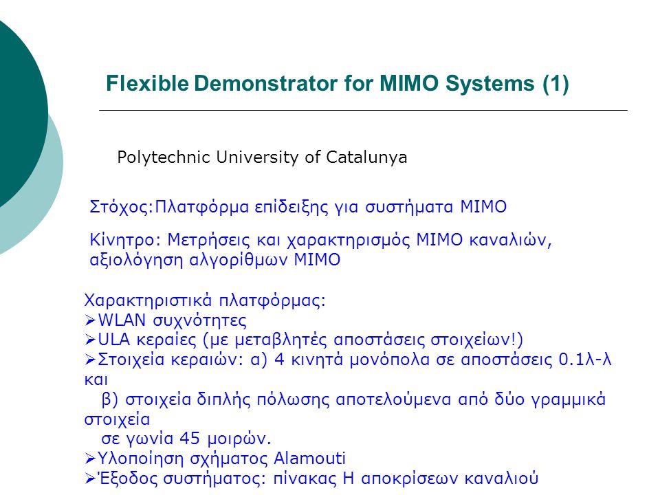 Flexible Demonstrator for MIMO Systems (1) Polytechnic University of Catalunya Στόχος:Πλατφόρμα επίδειξης για συστήματα MIMO Κίνητρο: Μετρήσεις και χα