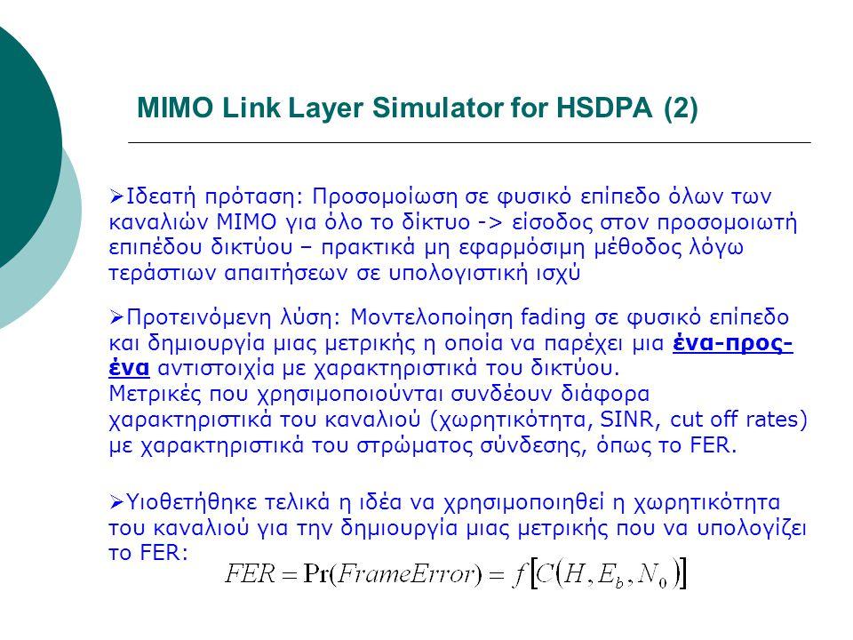 MIMO Link Layer Simulator for HSDPA (2)  Ιδεατή πρόταση: Προσομοίωση σε φυσικό επίπεδο όλων των καναλιών ΜΙΜΟ για όλο το δίκτυο -> είσοδος στον προσο