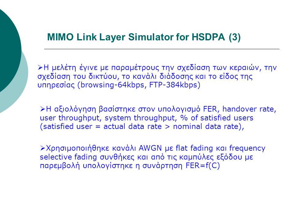 MIMO Link Layer Simulator for HSDPA (3)  Η μελέτη έγινε με παραμέτρους την σχεδίαση των κεραιών, την σχεδίαση του δικτύου, το κανάλι διάδοσης και το