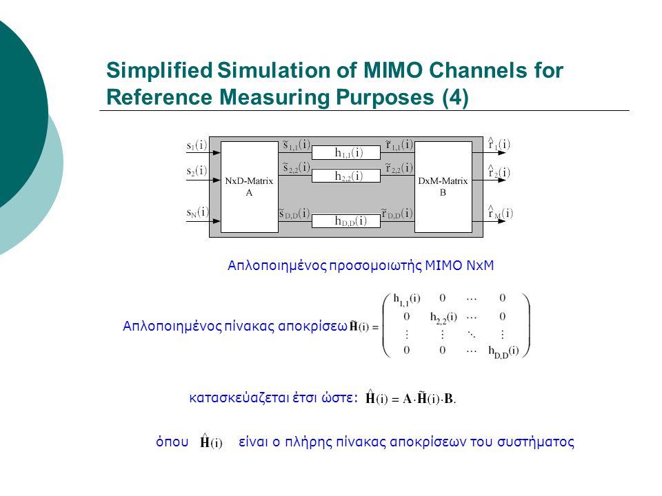 Απλοποιημένος προσομοιωτής ΜΙΜΟ ΝxΜ Simplified Simulation of MIMO Channels for Reference Measuring Purposes (4) κατασκεύαζεται έτσι ώστε: Απλοποιημένο