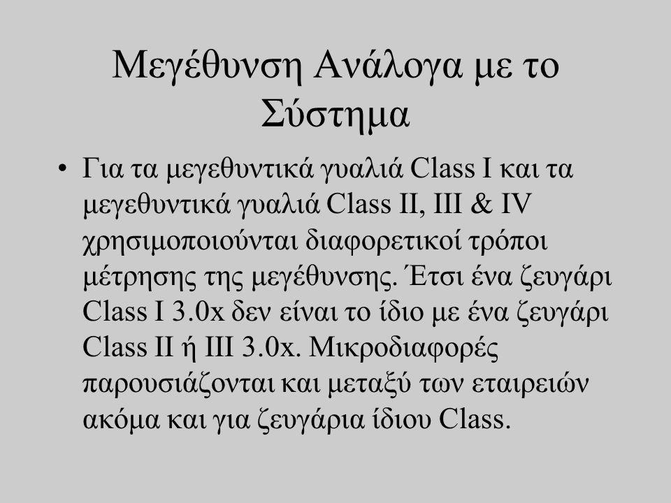 Μεγέθυνση Ανάλογα με το Σύστημα •Για τα μεγεθυντικά γυαλιά Class I και τα μεγεθυντικά γυαλιά Class II, III & IV χρησιμοποιούνται διαφορετικοί τρόποι μέτρησης της μεγέθυνσης.