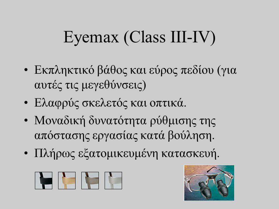 Eyemax (Class III-IV) •Εκπληκτικό βάθος και εύρος πεδίου (για αυτές τις μεγεθύνσεις) •Ελαφρύς σκελετός και οπτικά.