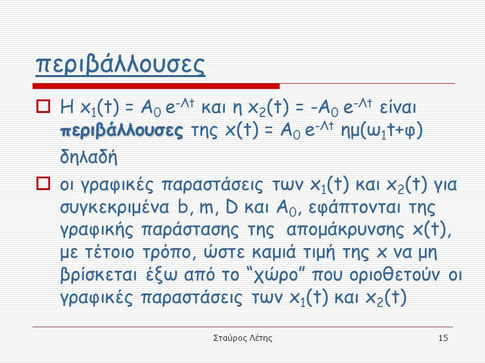 Σταύρος Λέτης15 περιβάλλουσες περιβάλλουσες  Η x 1 (t) = A 0 e -Λt και η x 2 (t) = -A 0 e -Λt είναι περιβάλλουσες της x(t) = A 0 e -Λt ημ(ω 1 t+φ) δη