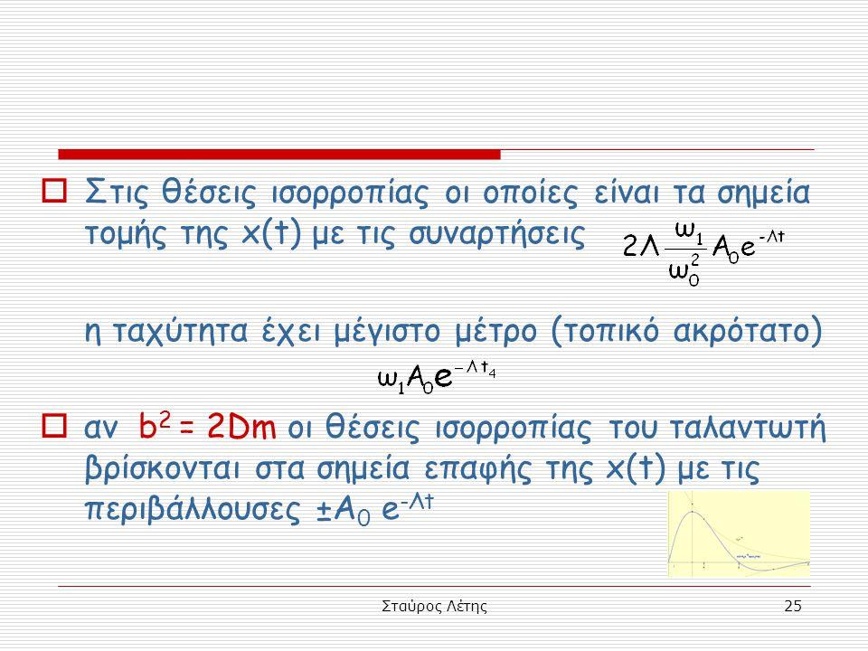 Σταύρος Λέτης25  Στις θέσεις ισορροπίας οι οποίες είναι τα σημεία τομής της x(t) με τις συναρτήσεις η ταχύτητα έχει μέγιστο μέτρο (τοπικό ακρότατο) 