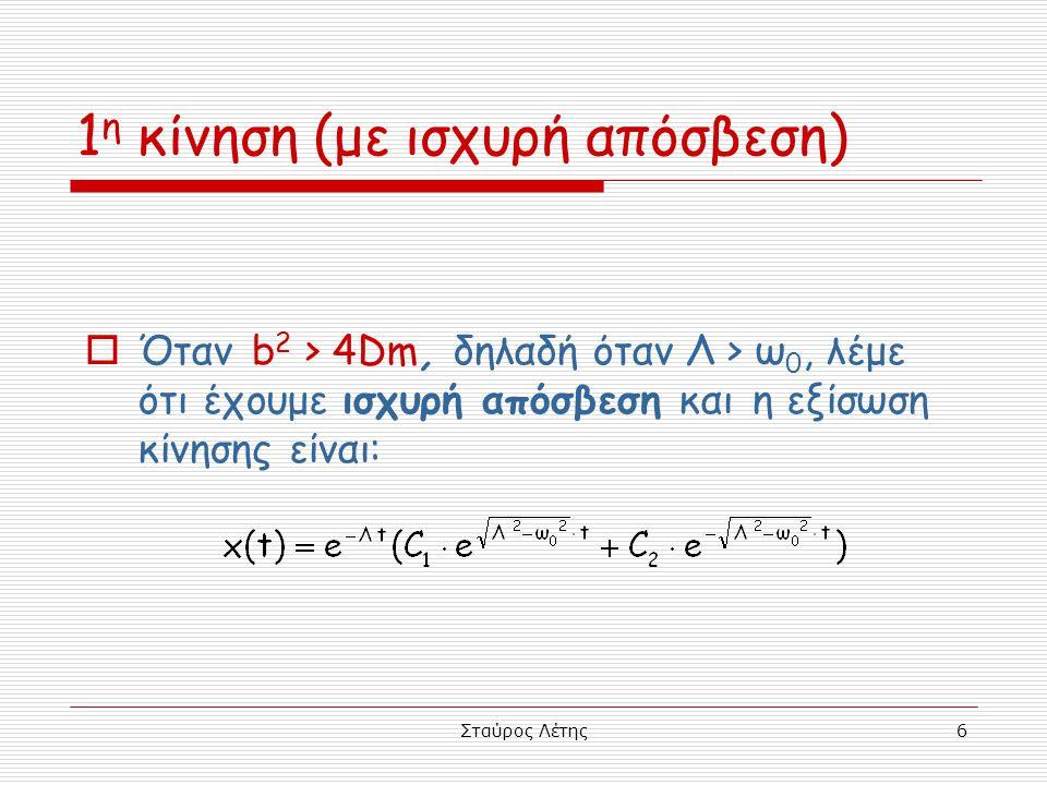 Σταύρος Λέτης27 Σώμα που έχει αρχική απομάκρυνση αφήνεται χωρίς αρχική ταχύτητα να εκτελέσει φθίνουσα ταλάντωση  Η αρχική απομάκρυνση x 0 δεν είναι Α 0  Η αρχική φάση φ δεν είναι π/2 rad  Η εξίσωση κίνησης δεν είναι η x = A 0 e -Λt συν(ωt) Αν όλα αυτά ήταν σωστά, τότε το σώμα θα είχε ταχύτητα στη θέση πλάτους.