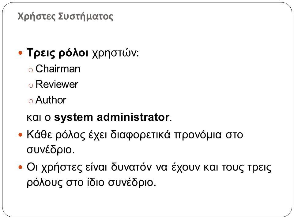 Χρήστες Συστήματος  Τρεις ρόλοι χρηστών : o Chairman o Reviewer o Author και ο system administrator.  Κάθε ρόλος έχει διαφορετικά προνόμια στο συνέδ