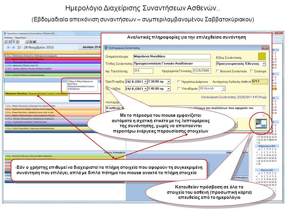 Ημερολόγιο Διαχείρισης Συναντήσεων Ασθενών.. (Εβδομαδιαία απεικόνιση συναντήσεων – συμπεριλαμβανομένου Σαββατοκύριακου) Αναλυτικές πληροφορίες για την