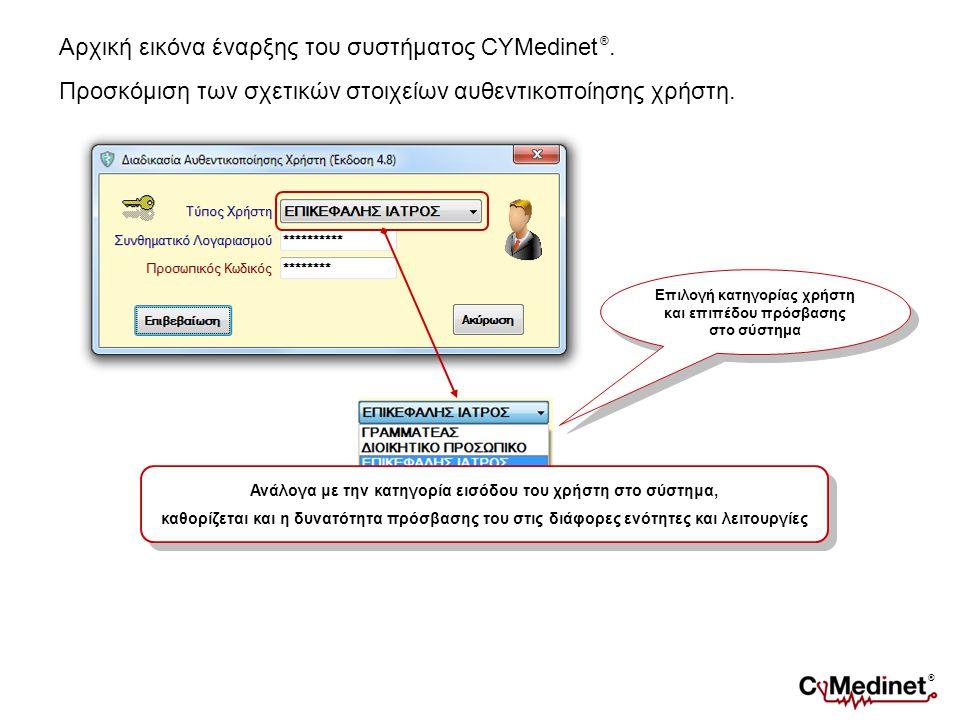 Αρχική εικόνα έναρξης του συστήματος CYMedinet ®. Προσκόμιση των σχετικών στοιχείων αυθεντικοποίησης χρήστη. Επιλογή κατηγορίας χρήστη και επιπέδου πρ