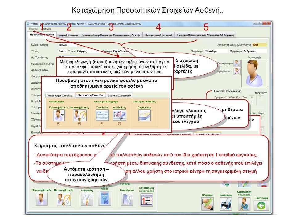Καταχώρηση Προσωπικών Στοιχείων Ασθενή.. Ολοκληρωμένη διαχείριση του ασθενή σε 1 σελίδα, με πολλαπλές καρτέλες Αυτοματοποιημέν η παρακολούθηση προσέλε