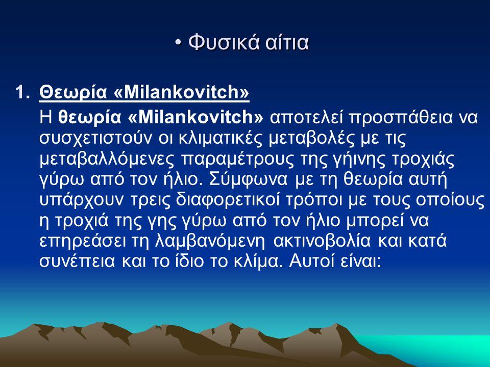 • Φυσικά αίτια 1.Θεωρία «Milankovitch» Η θεωρία «Milankovitch» αποτελεί προσπάθεια να συσχετιστούν οι κλιματικές μεταβολές με τις μεταβαλλόμενες παραμ