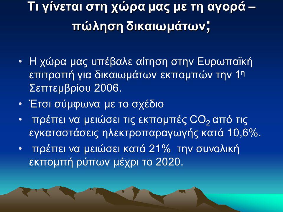 Τι γίνεται στη χώρα μας με τη αγορά – πώληση δικαιωμάτων ; •Η χώρα μας υπέβαλε αίτηση στην Ευρωπαϊκή επιτροπή για δικαιωμάτων εκπομπών την 1 η Σεπτεμβ