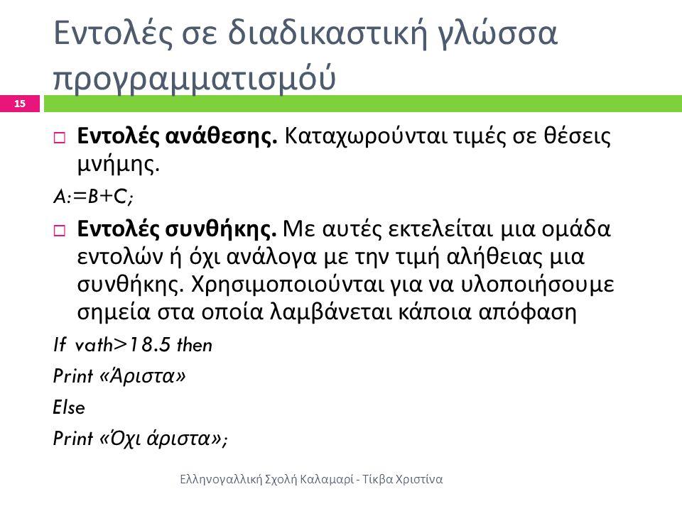 Εντολές σε διαδικαστική γλώσσα προγραμματισμόύ Ελληνογαλλική Σχολή Καλαμαρί - Τίκβα Χριστίνα 15  Εντολές ανάθεσης. Καταχωρούνται τιμές σε θέσεις μνήμ