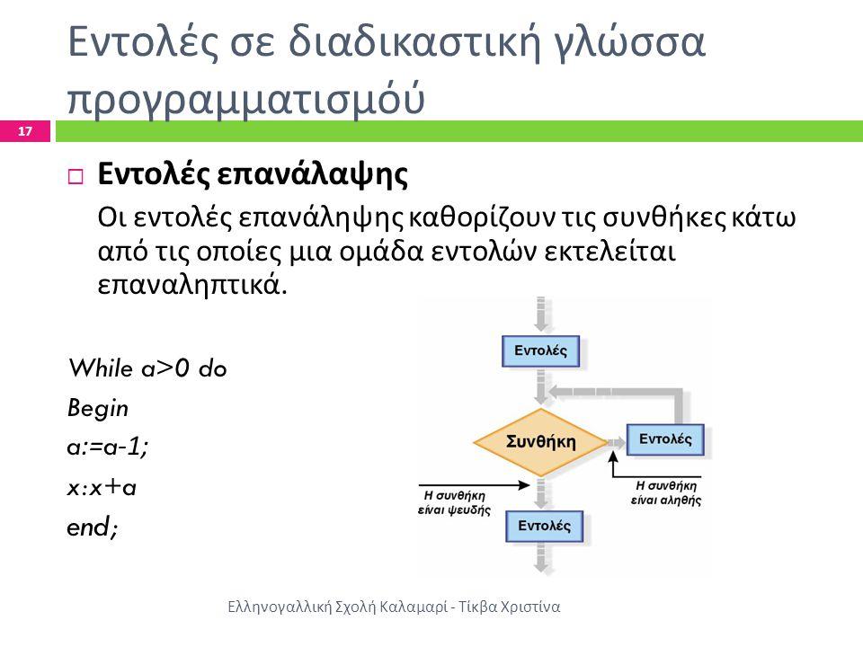 Εντολές σε διαδικαστική γλώσσα προγραμματισμόύ Ελληνογαλλική Σχολή Καλαμαρί - Τίκβα Χριστίνα 17  Εντολές επανάλαψης Οι εντολές επανάληψης καθορίζουν