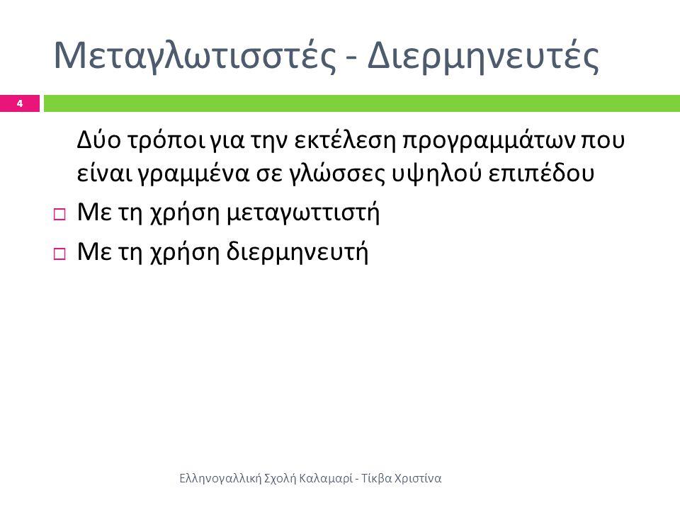 Μεταγλωτισστές - Διερμηνευτές Ελληνογαλλική Σχολή Καλαμαρί - Τίκβα Χριστίνα 4 Δύο τρόποι για την εκτέλεση προγραμμάτων που είναι γραμμένα σε γλώσσες υ