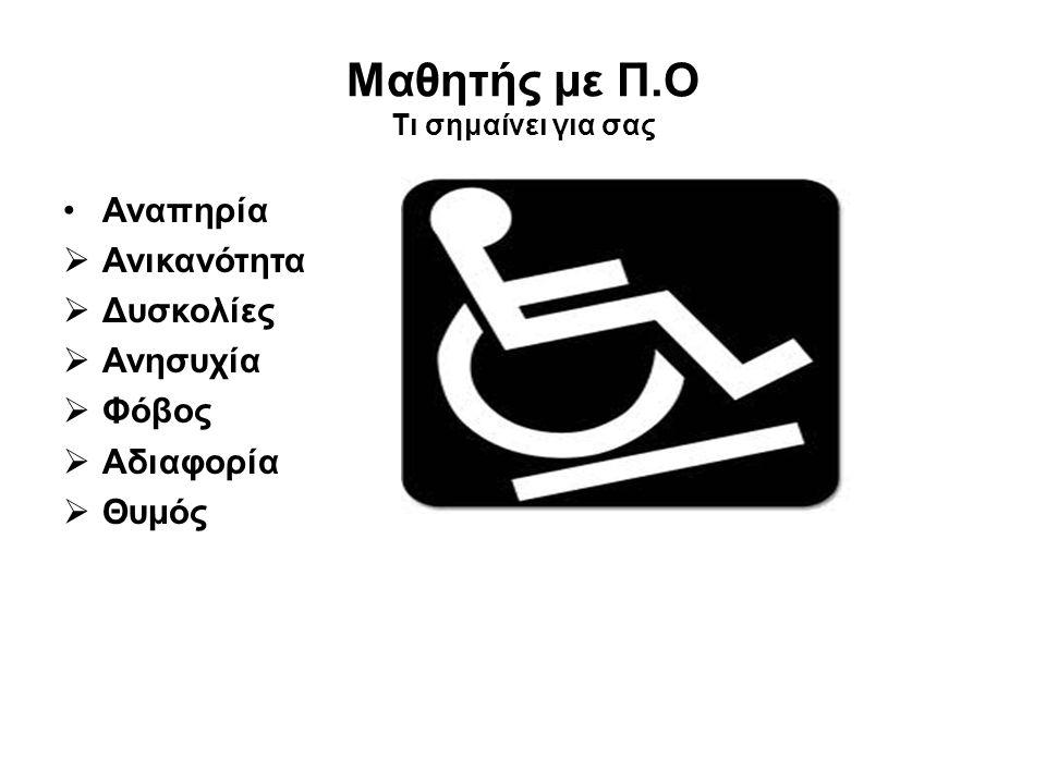 Μαθητής με Π.Ο Τι σημαίνει για σας •Αναπηρία  Ανικανότητα  Δυσκολίες  Ανησυχία  Φόβος  Αδιαφορία  Θυμός