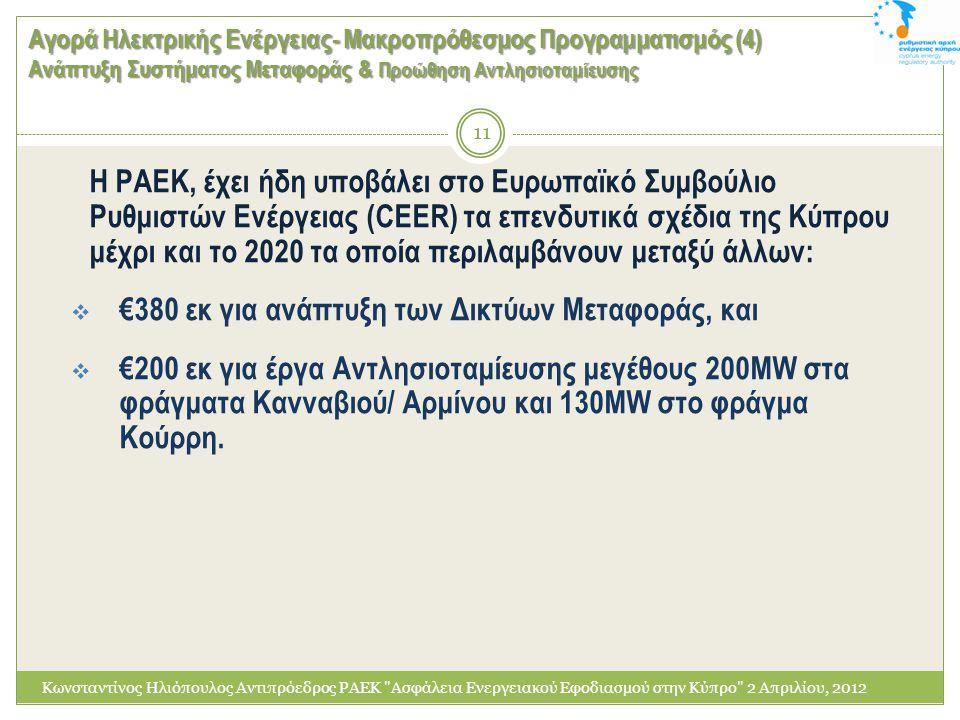 Αγορά Ηλεκτρικής Ενέργειας- Μακροπρόθεσμος Προγραμματισμός (4) Ανάπτυξη Συστήματος Μεταφοράς & Προώθηση Αντλησιοταμίευσης Κωνσταντίνος Ηλιόπουλος Αντι