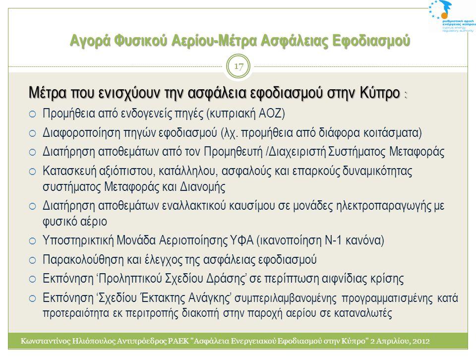 Αγορά Φυσικού Αερίου-Μέτρα Ασφάλειας Εφοδιασμού Μέτρα που ενισχύουν την ασφάλεια εφοδιασμού στην Κύπρο :  Προμήθεια από ενδογενείς πηγές (κυπριακή ΑΟ