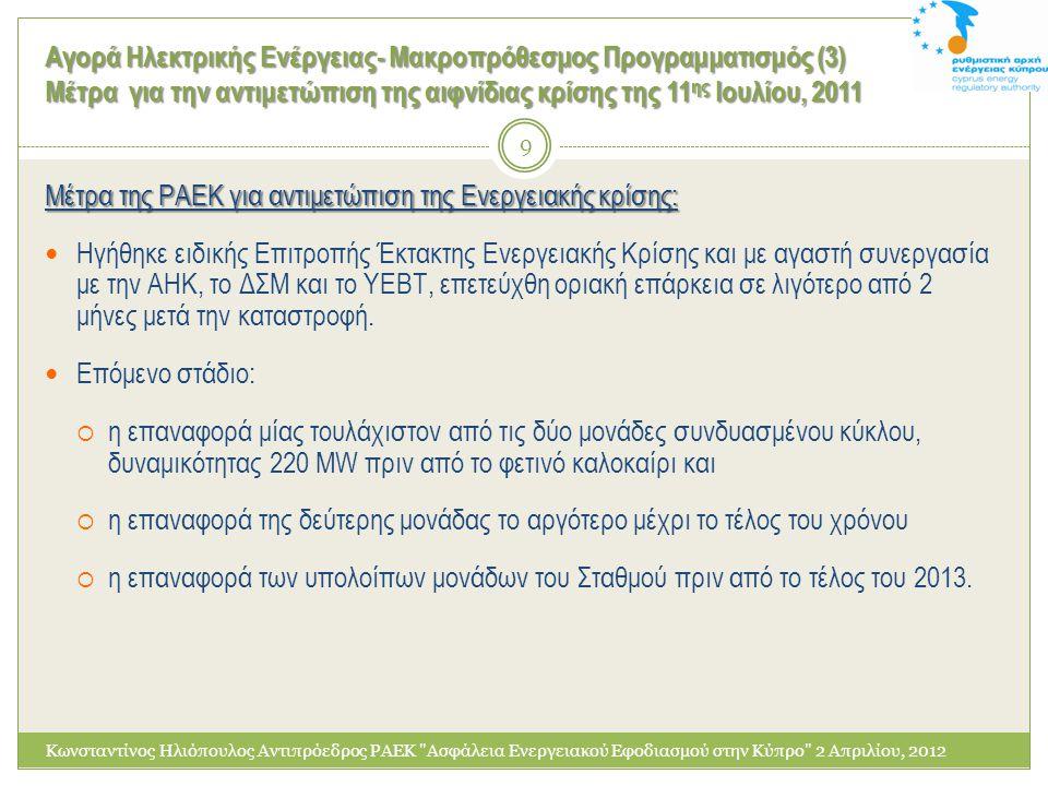 Αγορά Ηλεκτρικής Ενέργειας- Μακροπρόθεσμος Προγραμματισμός (6) Διείσδυση των ΑΠΕ στο σύστημα Κωνσταντίνος Ηλιόπουλος Αντιπρόεδρος ΡΑΕΚ Ασφάλεια Ενεργειακού Εφοδιασμού στην Κύπρο 2 Απριλίου, 2012 2020 Κύπρος 2020 ΑΠΕ σε θέρμανση & ψύξη: 23,5% ΑΠΕ σε ηλεκτροπαραγωγή: 16%ΑΠΕ σε μεταφορές: 10% Στα πλαίσια αντιμετώπισης της ενεργειακής κρίσης προωθείται η επίσπευση της διείσδυσης Φωτοβολταϊκών: o έγκριση όλων των υφιστάμενων αδειοδοτημένων έργων μέχρι 150kW, συνολικής δυναμικότητας περίπου 27MW o έγκριση νέων αιτήσεων για οικιακά και μικρά εμπορικά συνολικής δυναμικότητας περίπου 5 MW και o διεξαγωγή μειοδοτικού διαγωνισμού για μεγαλύτερα σε μέγεθος φωτοβολταϊκά πάρκα, συνολικής δυναμικότητας 50MW.