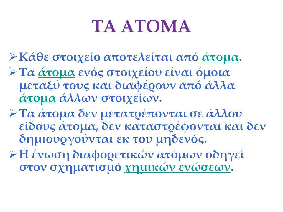 ΤΑ ΑΤΟΜΑ  Κάθε στοιχείο αποτελείται από άτομα.άτομα  Τα άτομα ενός στοιχείου είναι όμοια μεταξύ τους και διαφέρουν από άλλα άτομα άλλων στοιχείων.άτ
