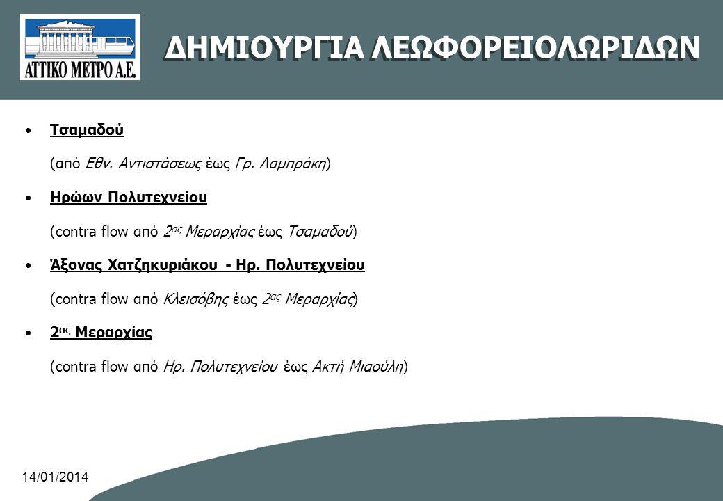 •Τσαμαδού (από Εθν. Αντιστάσεως έως Γρ. Λαμπράκη) •Ηρώων Πολυτεχνείου (contra flow από 2 ας Μεραρχίας έως Τσαμαδού) •Άξονας Χατζηκυριάκου - Ηρ. Πολυτε