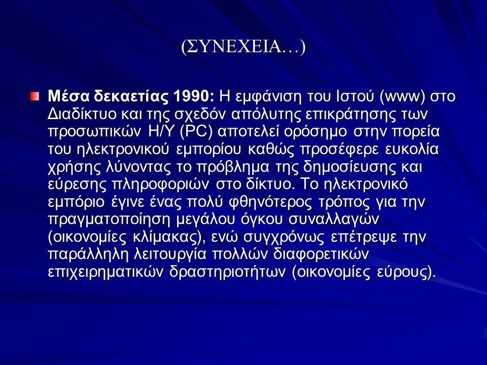 (ΣΥΝΕΧΕΙΑ…) Μέσα δεκαετίας 1990: Η εμφάνιση του Ιστού (www) στο Διαδίκτυο και της σχεδόν απόλυτης επικράτησης των προσωπικών Η/Υ (PC) αποτελεί ορόσημο
