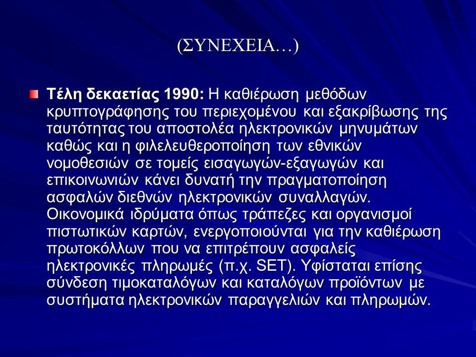 (ΣΥΝΕΧΕΙΑ…) Τέλη δεκαετίας 1990: Η καθιέρωση μεθόδων κρυπτογράφησης του περιεχομένου και εξακρίβωσης της ταυτότητας του αποστολέα ηλεκτρονικών μηνυμάτ