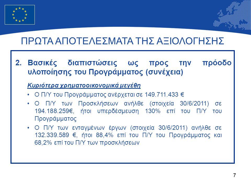 88 ΠΡΩΤΑ ΑΠΟΤΕΛΕΣΜΑΤΑ ΤΗΣ ΑΞΙΟΛΟΓΗΣΗΣ 2.Βασικές διαπιστώσεις ως προς την πρόοδο υλοποίησης του Προγράμματος (συνέχεια) Κυριότερα χρηματοοικονομικά μεγέθη (συνέχεια) •Ο Π/Υ των συμβασιοποιημένων έργων (στοιχεία 30/6/2011) ανήλθε σε 62.513.658 €, ήτοι 47,2% επί του Π/Υ των ενταγμένων έργων και 41,8% επί του Π/Υ του Προγράμματος •Οι δαπάνες ανήλθαν σε 29.940.599 € (στοιχεία 30/6/2011), ήτοι 47,9% επί του Π/Υ των συμβάσεων, 22,6% επί του Π/Υ των ενταγμένων έργων και 20,0% επί του Π/Υ του Προγράμματος •Το Πρόγραμμα πέτυχε το στόχο του για το 2011, αναφορικά με τον κανόνα της αυτόματης αποδέσμευσης πόρων ν+3
