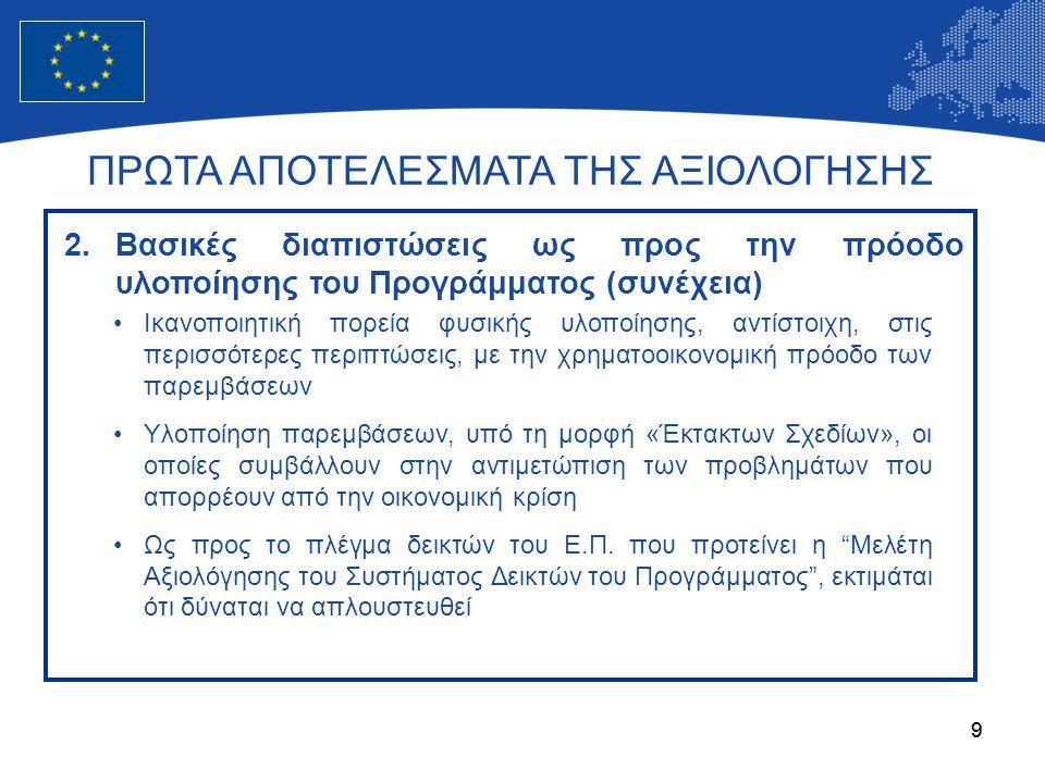 10 •Υψηλού επιπέδου στελέχη των επιτελικών μηχανισμών, με εμπειρία και κατάρτιση •Σημαντικός αριθμός σεμιναρίων, με έμφαση στο Ολοκληρωμένο Πληροφοριακό Σύστημα (ΟΠΣ) •Τα αποτελέσματα από την Έρευνα Πεδίου που πραγματοποιείται ως προς τους Ενδιάμεσους Φορείς και Δικαιούχους του Ε.Π.