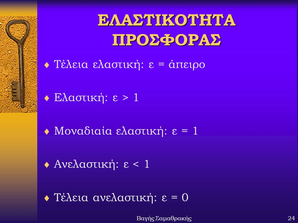 Βαγής Σαμαθρακής24 ΕΛΑΣΤΙΚΟΤΗΤΑ ΠΡΟΣΦΟΡΑΣ  Τέλεια ελαστική: ε = άπειρο  Ελαστική: ε > 1  Μοναδιαία ελαστική: ε = 1  Ανελαστική: ε < 1  Τέλεια ανε