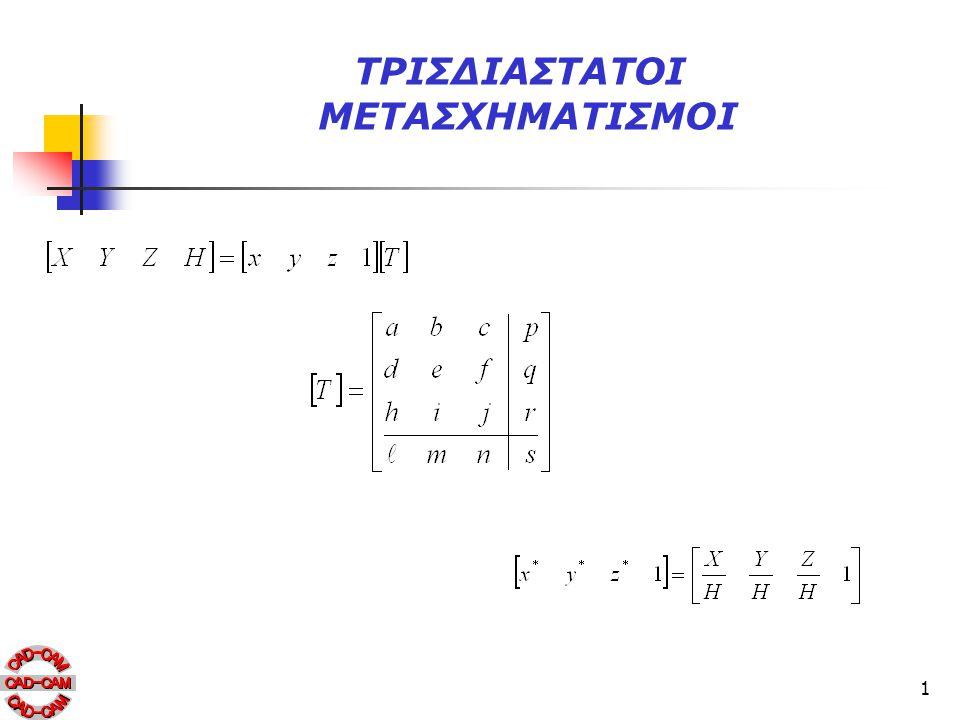 12 Αξονομετρικές προβολές Πίνακας : Τύποι αξονομετρικών προβολών Προβολή Περιγραφή ΤριμετρικήΗ μήτρα μετασχηματισμού προκαλεί καθαρή περιστροφή σε δύο τυχαίες γωνίες ως προς τους x και y-άξονες.