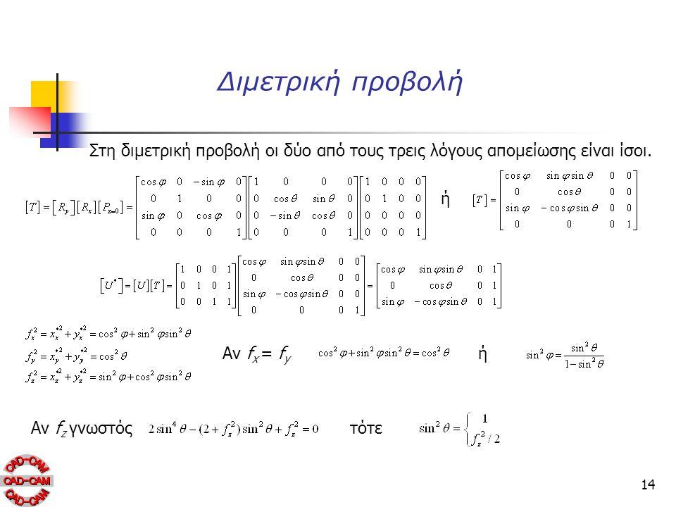 14 Διμετρική προβολή Στη διμετρική προβολή οι δύο από τους τρεις λόγους απομείωσης είναι ίσοι. ή Αν f x = f y ή Αν f z γνωστόςτότε
