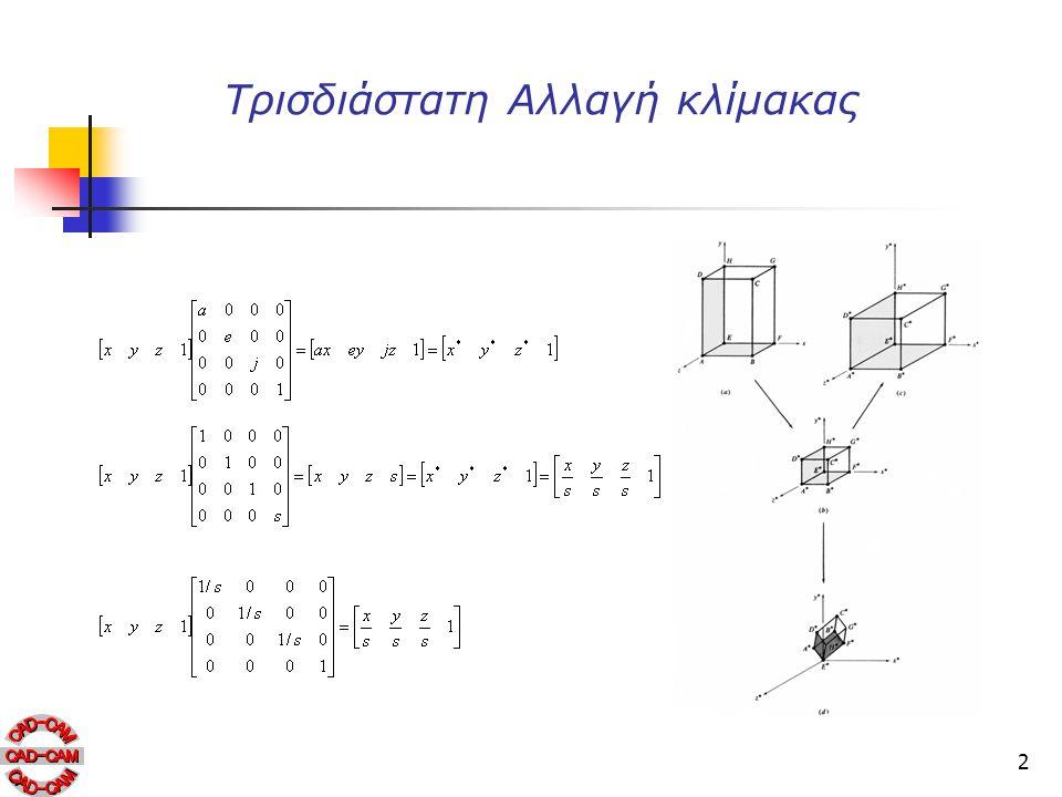 13 Τριμετρική προβολή Οι λόγοι απομείωσης κατά τους κύριους άξονες υπολογίζονται εφαρμόζοντας την μήτρα μετασχηματισμού πάνω στα μονα- διαία διανύσματα.