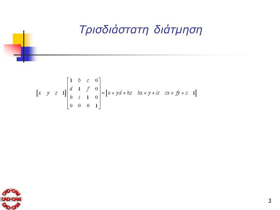 14 Διμετρική προβολή Στη διμετρική προβολή οι δύο από τους τρεις λόγους απομείωσης είναι ίσοι.