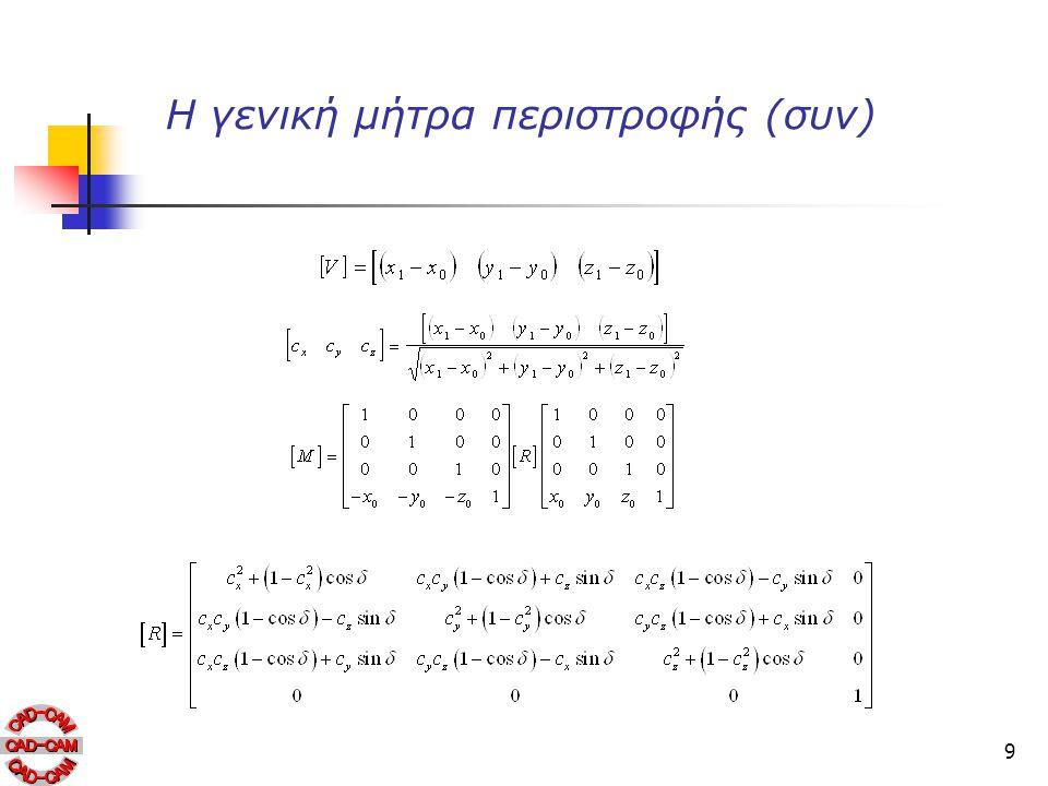 9 Η γενική μήτρα περιστροφής (συν)