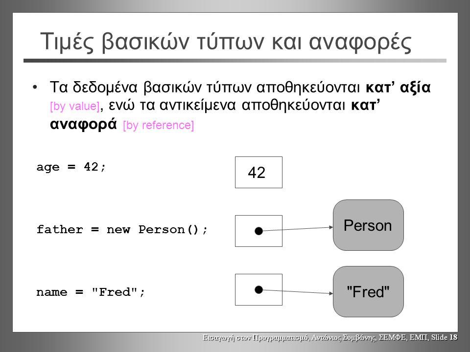 Εισαγωγή στον Προγραμματισμό, Αντώνιος Συμβώνης, ΣΕΜΦΕ, ΕΜΠ, Slide 18 Τιμές βασικών τύπων και αναφορές •Τα δεδομένα βασικών τύπων αποθηκεύονται κατ' αξία [by value], ενώ τα αντικείμενα αποθηκεύονται κατ' αναφορά [by reference] age = 42; father = new Person(); name = Fred ; 42 Person Fred