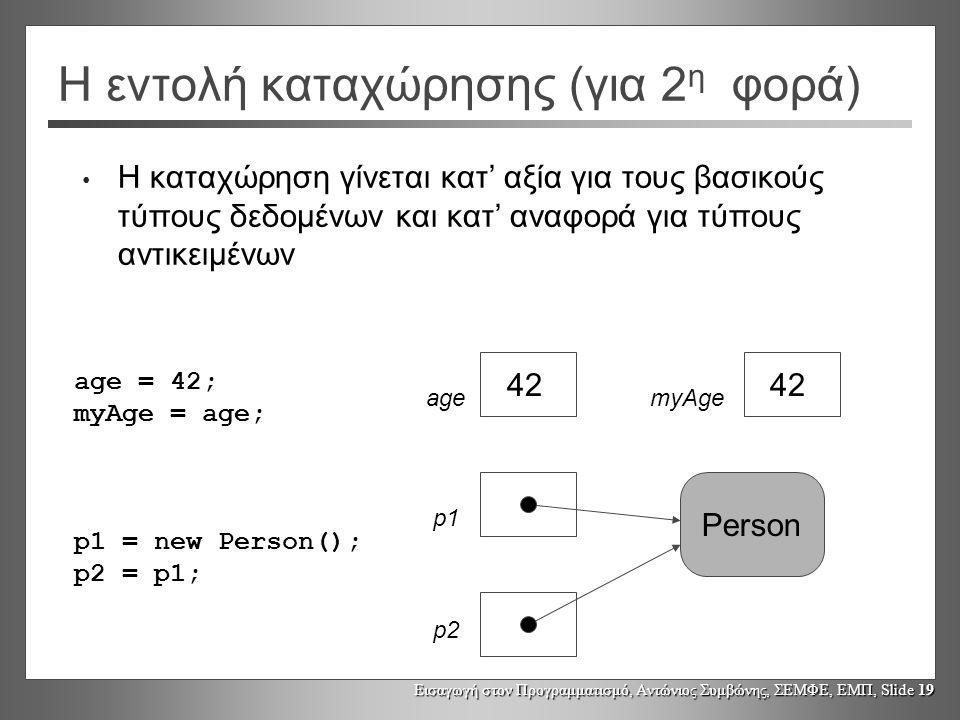 Εισαγωγή στον Προγραμματισμό, Αντώνιος Συμβώνης, ΣΕΜΦΕ, ΕΜΠ, Slide 19 Η εντολή καταχώρησης (για 2 η φορά) • Η καταχώρηση γίνεται κατ' αξία για τους βασικούς τύπους δεδομένων και κατ' αναφορά για τύπους αντικειμένων age = 42; myAge = age; p1 = new Person(); p2 = p1; 42 Person 42 agemyAge p1 p2