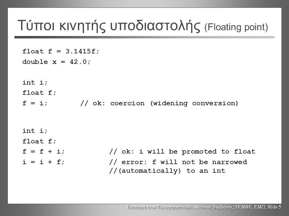 Εισαγωγή στον Προγραμματισμό, Αντώνιος Συμβώνης, ΣΕΜΦΕ, ΕΜΠ, Slide 5 Τύποι κινητής υποδιαστολής (Floating point) float f = 3.1415f; double x = 42.0; int i; float f; f = i;// ok: coercion (widening conversion) int i; float f; f = f + i;// ok: i will be promoted to float i = i + f;// error: f will not be narrowed //(automatically) to an int