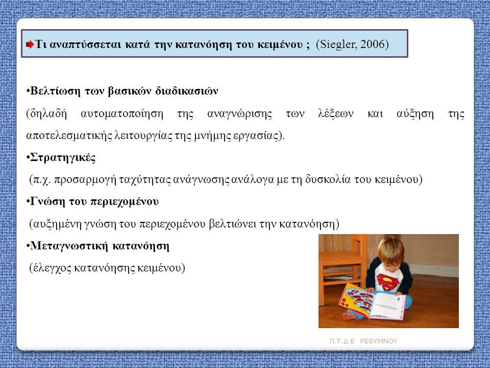 Π.Τ.Δ.Ε ΡΕΘΥΜΝΟΥ Τι αναπτύσσεται κατά την κατανόηση του κειμένου  (Siegler, 2006) • Βελτίωση των βασικών διαδικασιών (δηλαδή αυτοματοποίηση της αναγν