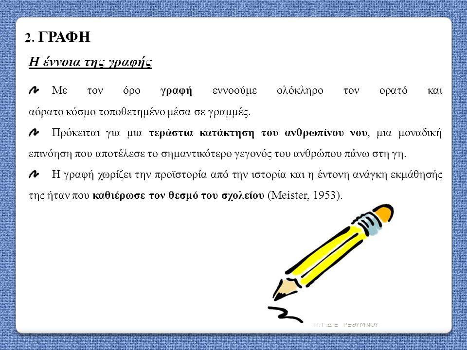 Π.Τ.Δ.Ε ΡΕΘΥΜΝΟΥ 2. ΓΡΑΦΗ Η έννοια της γραφής Με τον όρο γραφή εννοούμε ολόκληρο τον ορατό και αόρατο κόσμο τοποθετημένο μέσα σε γραμμές. Πρόκειται γι