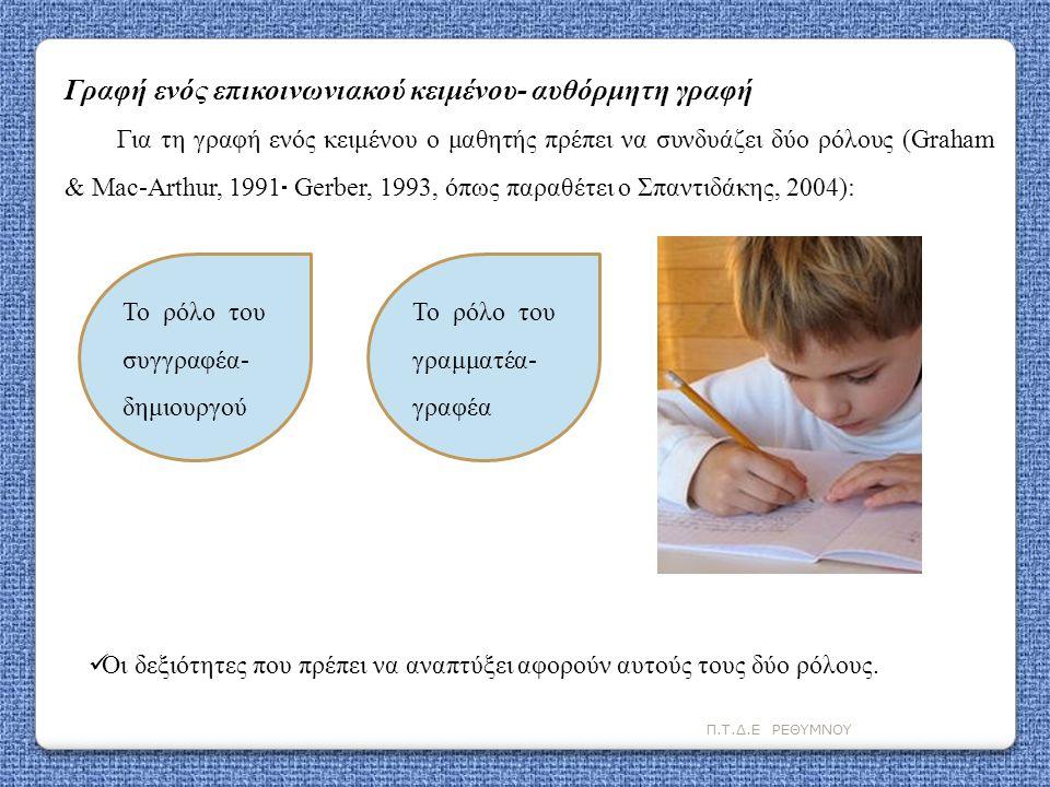 Π.Τ.Δ.Ε ΡΕΘΥΜΝΟΥ Γραφή ενός επικοινωνιακού κειμένου- αυθόρμητη γραφή Για τη γραφή ενός κειμένου ο μαθητής πρέπει να συνδυάζει δύο ρόλους (Graham & Mac