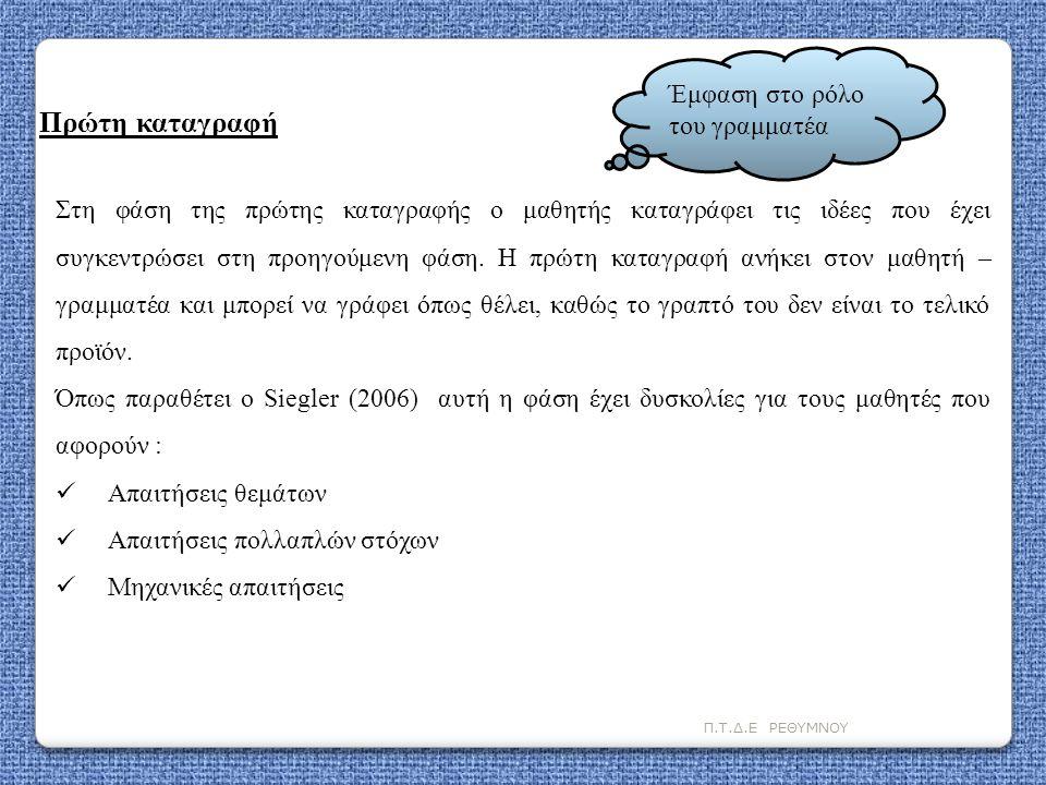 Π.Τ.Δ.Ε ΡΕΘΥΜΝΟΥ Στη φάση της πρώτης καταγραφής ο μαθητής καταγράφει τις ιδέες που έχει συγκεντρώσει στη προηγούμενη φάση. Η πρώτη καταγραφή ανήκει στ