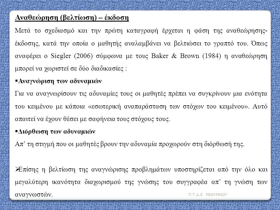 Π.Τ.Δ.Ε ΡΕΘΥΜΝΟΥ Αναθεώρηση (βελτίωση) – έκδοση Μετά το σχεδιασμό και την πρώτη καταγραφή έρχεται η φάση της αναθεώρησης- έκδοσης, κατά την οποία ο μα