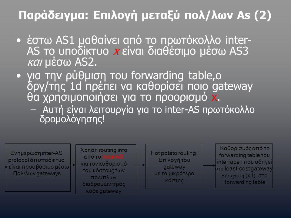 Παράδειγμα: Επιλογή μεταξύ πολ/λων As (2) •έστω AS1 μαθαίνει από το πρωτόκολλο inter- AS το υποδίκτυο x είναι διαθέσιμο μέσω AS3 και μέσω AS2. •για τη