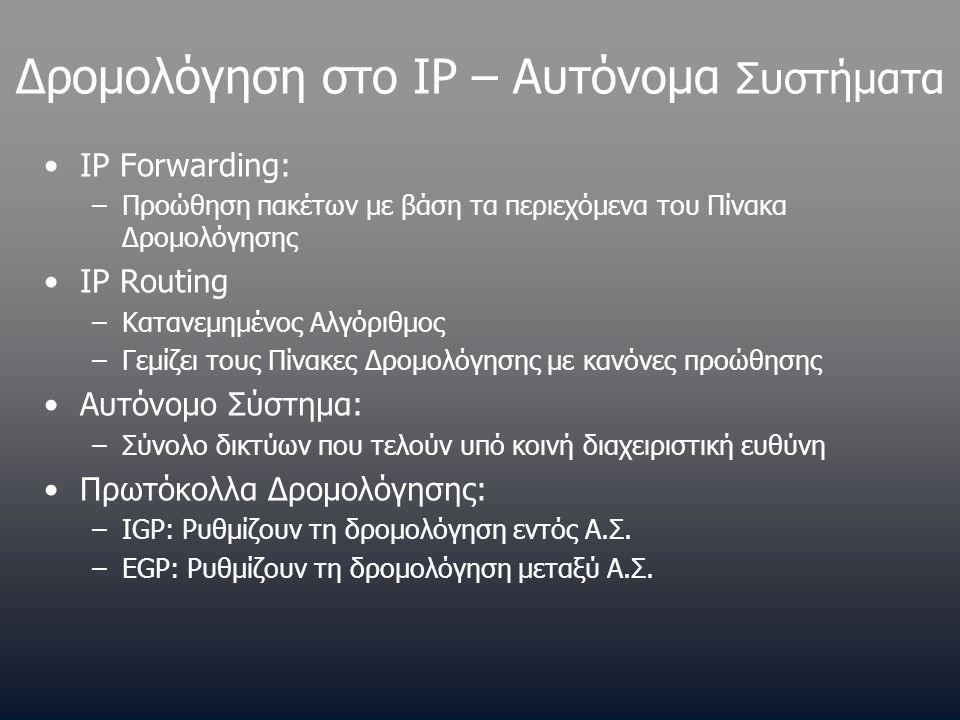 Δρομολόγηση στο IP – Αυτόνομα Συστήματα •IP Forwarding: –Προώθηση πακέτων με βάση τα περιεχόμενα του Πίνακα Δρομολόγησης •IP Routing –Κατανεμημένος Αλ