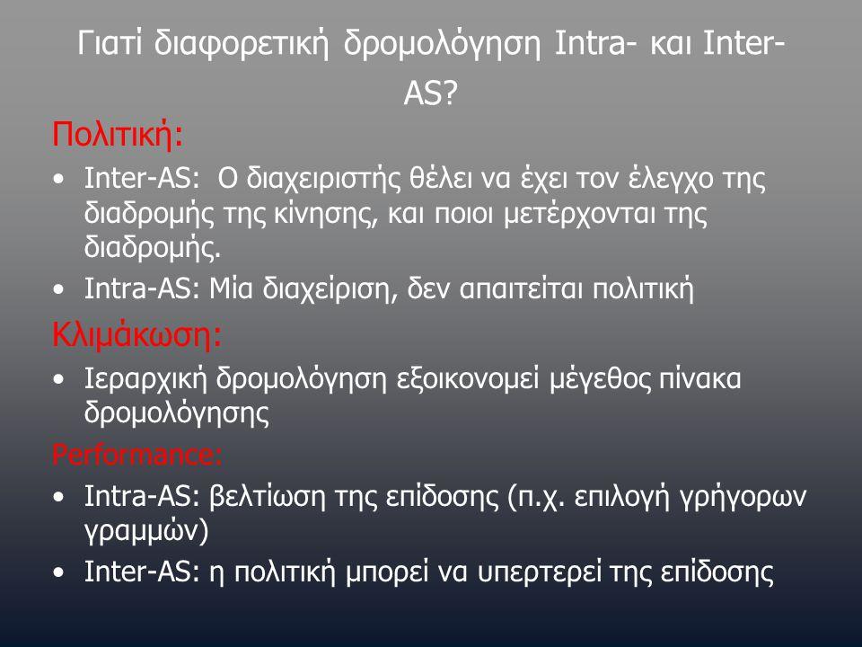 Γιατί διαφορετική δρομολόγηση Intra- και Inter- AS? Πολιτική: •Inter-AS: Ο διαχειριστής θέλει να έχει τον έλεγχο της διαδρομής της κίνησης, και ποιοι