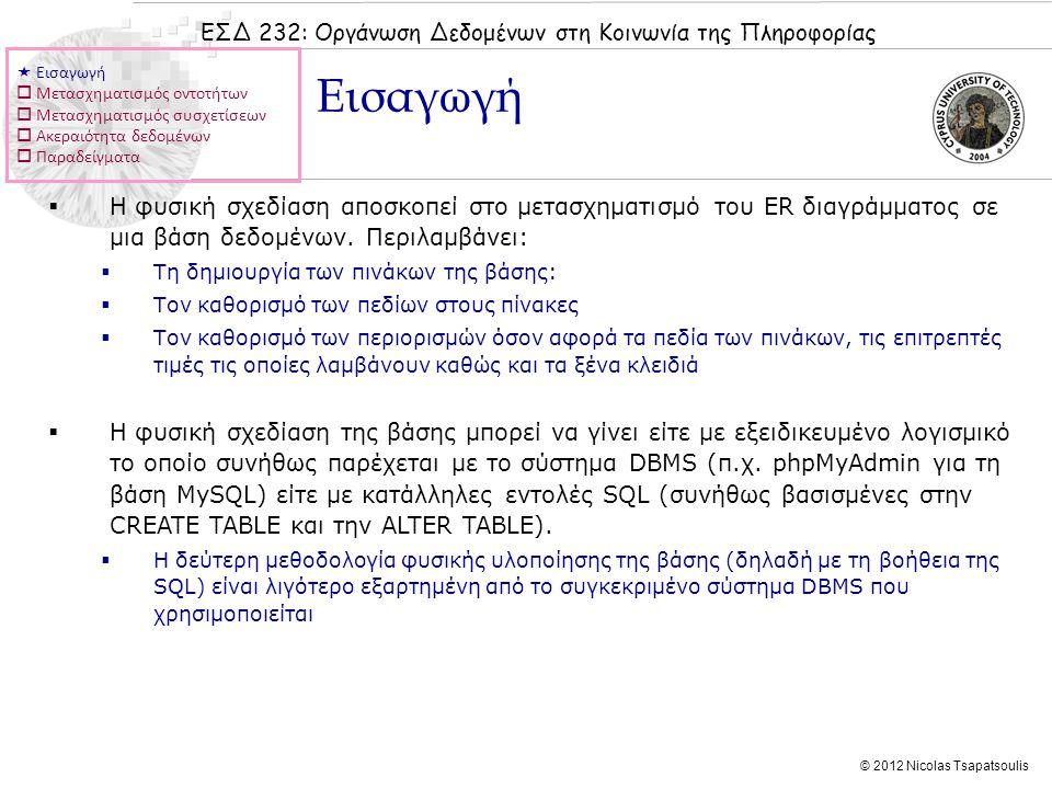 ΕΣΔ 232: Οργάνωση Δεδομένων στη Κοινωνία της Πληροφορίας © 2012 Nicolas Tsapatsoulis  Η φυσική σχεδίαση αποσκοπεί στο μετασχηματισμό του ER διαγράμματος σε μια βάση δεδομένων.