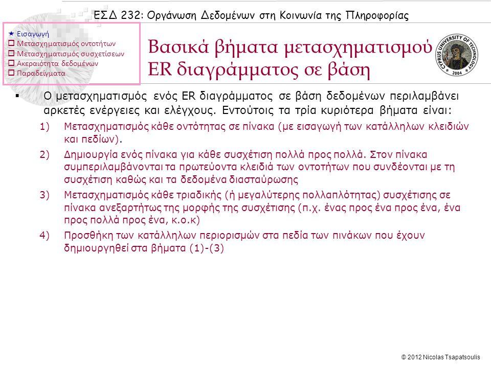 ΕΣΔ 232: Οργάνωση Δεδομένων στη Κοινωνία της Πληροφορίας © 2012 Nicolas Tsapatsoulis Βασικά βήματα μετασχηματισμού ER διαγράμματος σε βάση  Ο μετασχηματισμός ενός ER διαγράμματος σε βάση δεδομένων περιλαμβάνει αρκετές ενέργειες και ελέγχους.