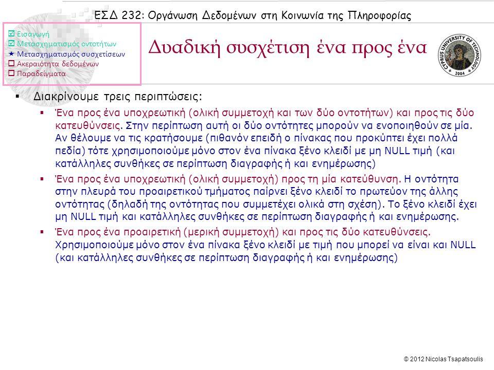 ΕΣΔ 232: Οργάνωση Δεδομένων στη Κοινωνία της Πληροφορίας © 2012 Nicolas Tsapatsoulis Δυαδική συσχέτιση ένα προς ένα  Διακρίνουμε τρεις περιπτώσεις:  Ένα προς ένα υποχρεωτική (ολική συμμετοχή και των δύο οντοτήτων) και προς τις δύο κατευθύνσεις.